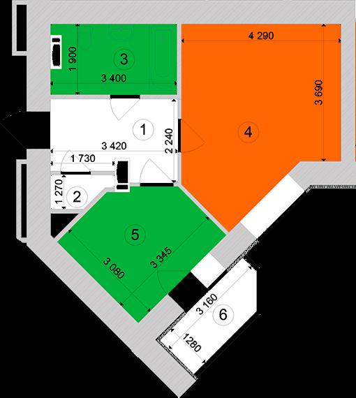 Купити Однокімнатна квартира 43,13 кв.м., тип 1.1, будинок 1, секція 1 в Києві Голосіївський район