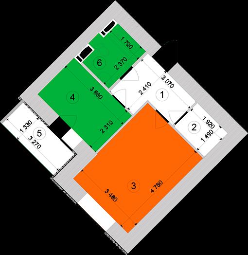 Купити Однокімнатна квартира 38,82 кв.м., тип 1.2, будинок 1, секція 1 в Києві Голосіївський район