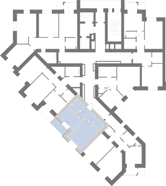 Однокімнатна квартира 38,82 кв.м., тип 1.2, будинок 1, секція 1 розташування на поверсі