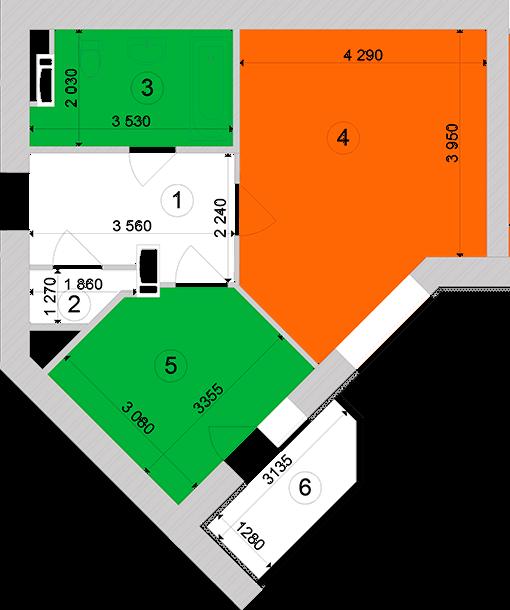 Купити Однокімнатна квартира 45,43 кв.м., тип 1.3, будинок 1, секція 1 в Києві Голосіївський район