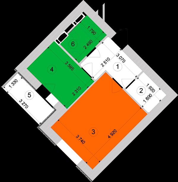 Купити Однокімнатна квартира 41,37 кв.м., тип 1.4, будинок 1, секція 1 в Києві Голосіївський район