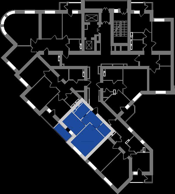 Однокімнатна квартира 41,37 кв.м., тип 1.4, будинок 1, секція 1 розташування на поверсі
