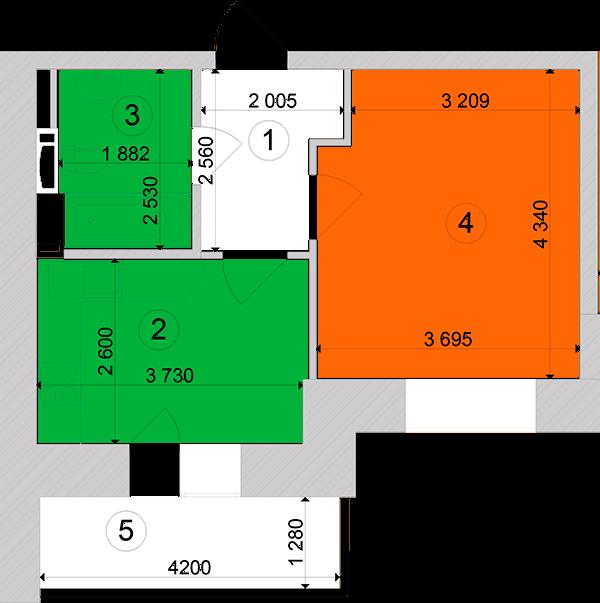 Купити Однокімнатна квартира 35,54 кв.м., тип 1.5, будинок 1, секція 2 в Києві Голосіївський район