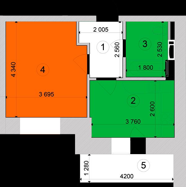 Купити Однокімнатна квартира 35,26 кв.м., тип 1.6, будинок 1, секція 2 в Києві Голосіївський район