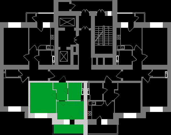Однокомнатная квартира 35,26 кв.м., тип 1.6, дом 1, секция 2 расположение на этаже