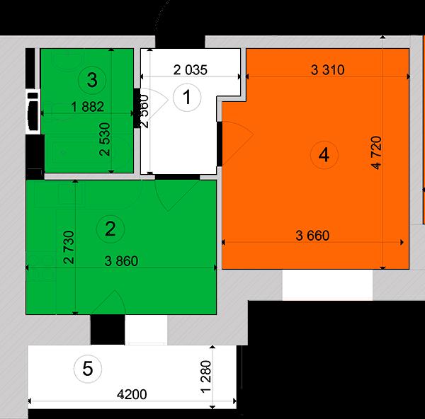 Купити Однокімнатна квартира 36,77 кв.м., тип 1.7, будинок 1, секція 2 в Києві Голосіївський район