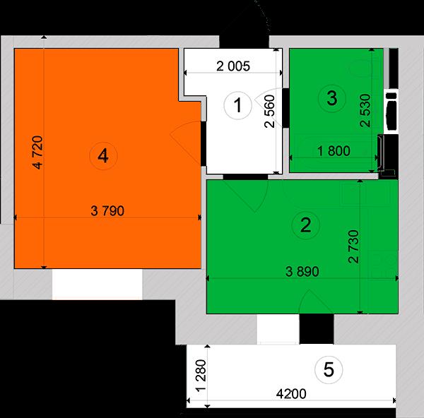 Купити Однокімнатна квартира 36,93 кв.м., тип 1.8, будинок 1, секція 2 в Києві Голосіївський район