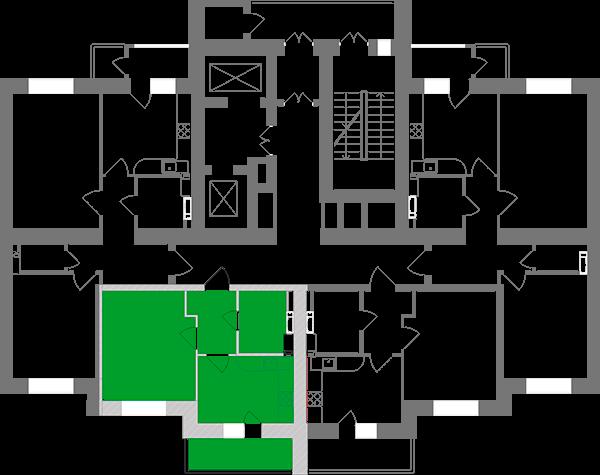 Однокімнатна квартира 36,93 кв.м., тип 1.8, будинок 1, секція 2 розташування на поверсі