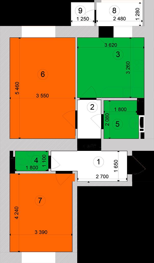 Купити Двокімнатна квартира 61,69 кв.м., тип 2.10, будинок 1, секція 2 в Києві Голосіївський район