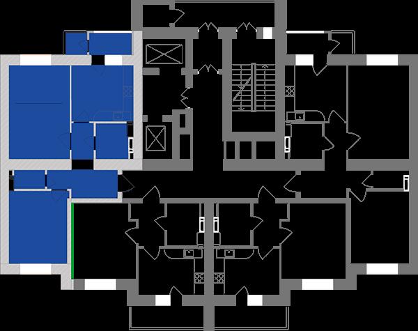 Двокімнатна квартира 61,69 кв.м., тип 2.10, будинок 1, секція 2 розташування на поверсі