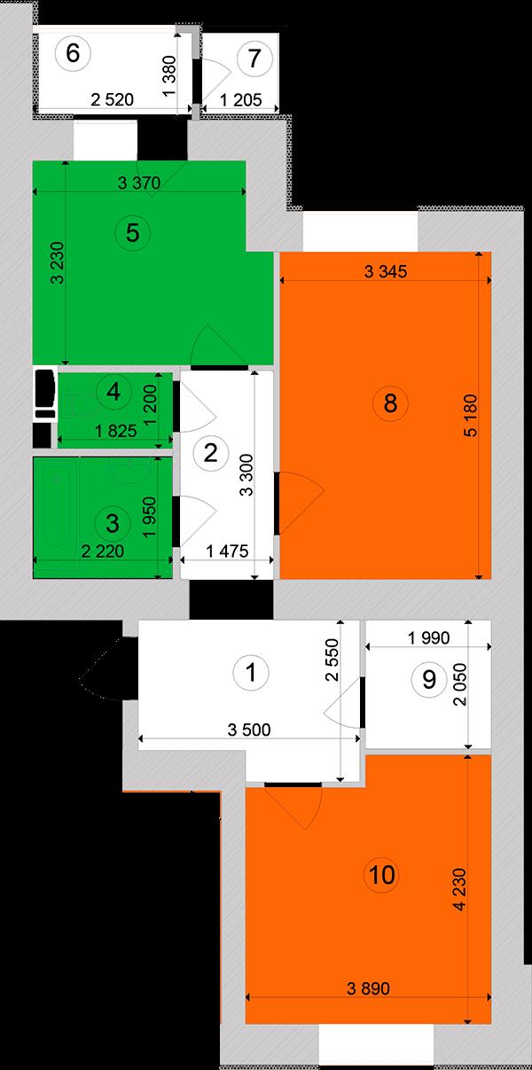 Купити Двокімнатна квартира 69,2 кв.м., тип 2.1, будинок 1, секція 1 в Києві Голосіївський район