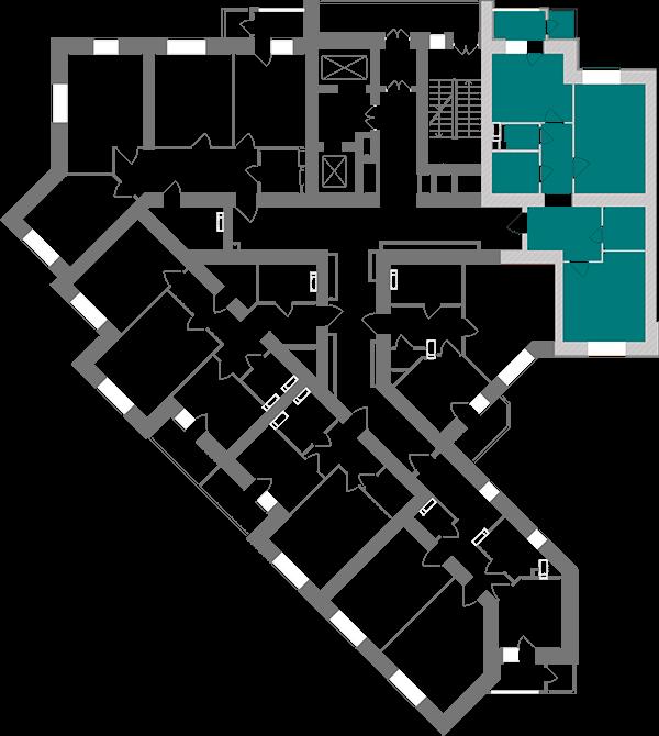 Двокімнатна квартира 69,2 кв.м., тип 2.1, будинок 1, секція 1 розташування на поверсі