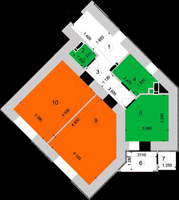 Купити Двокімнатна квартира 63,77 кв.м., тип 2.2, будинок 1, секція 1 в Києві Голосіївський район
