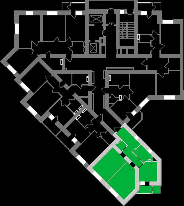 Двухкомнатная квартира 63,77 кв.м., тип 2.2, дом 1, секция 1 расположение на этаже