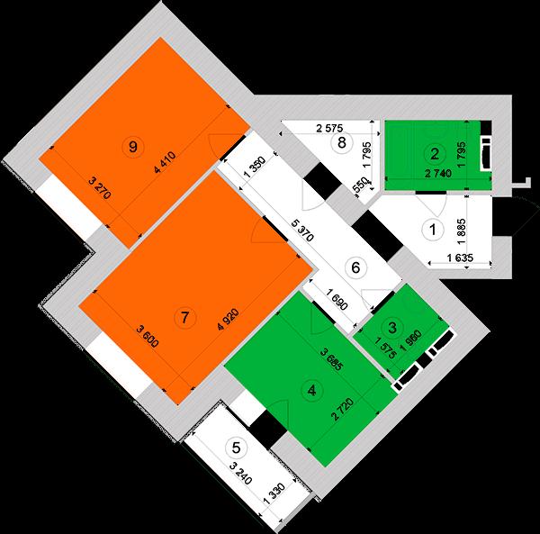 Купити Двокімнатна квартира 65,66 кв.м., тип 2.3, будинок 1, секція 1 в Києві Голосіївський район