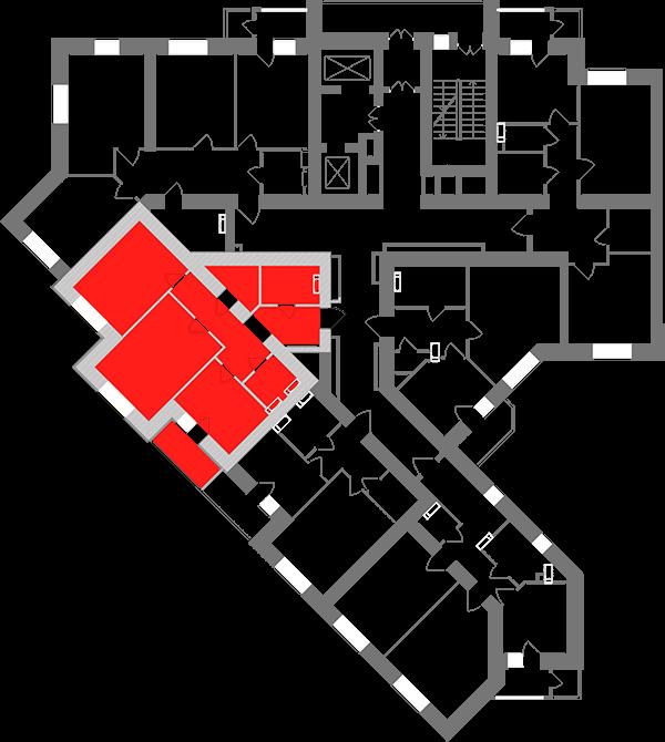 Двухкомнатная квартира 65,66 кв.м., тип 2.3, дом 1, секция 1 расположение на этаже