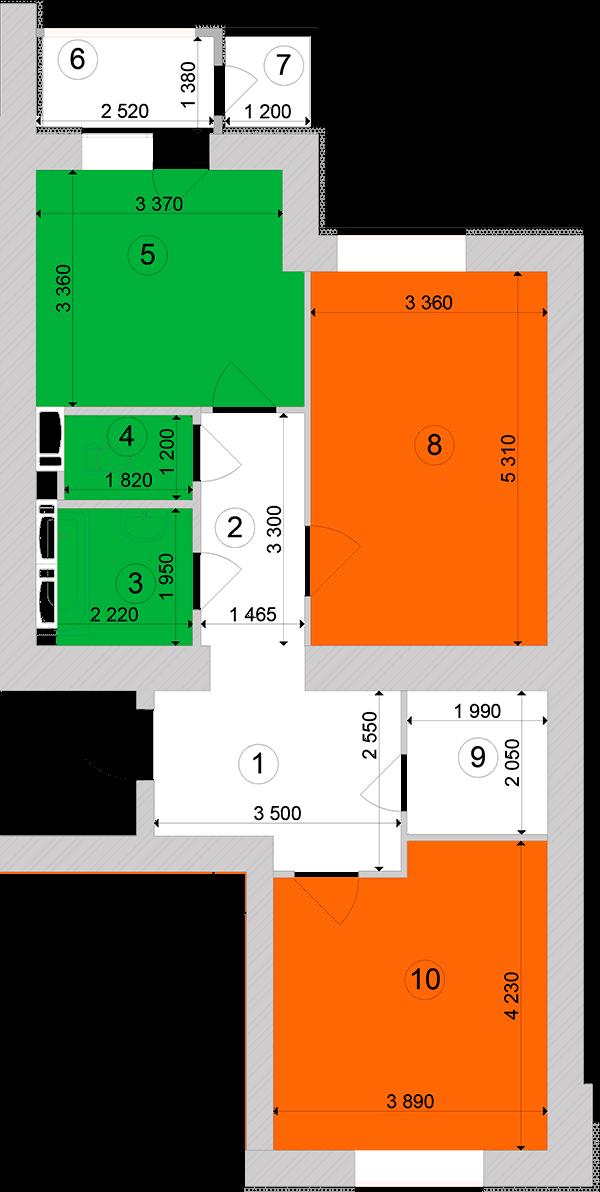 Купити Двокімнатна квартира 71,28 кв.м., тип 2.4, будинок 1, секція 1 в Києві Голосіївський район