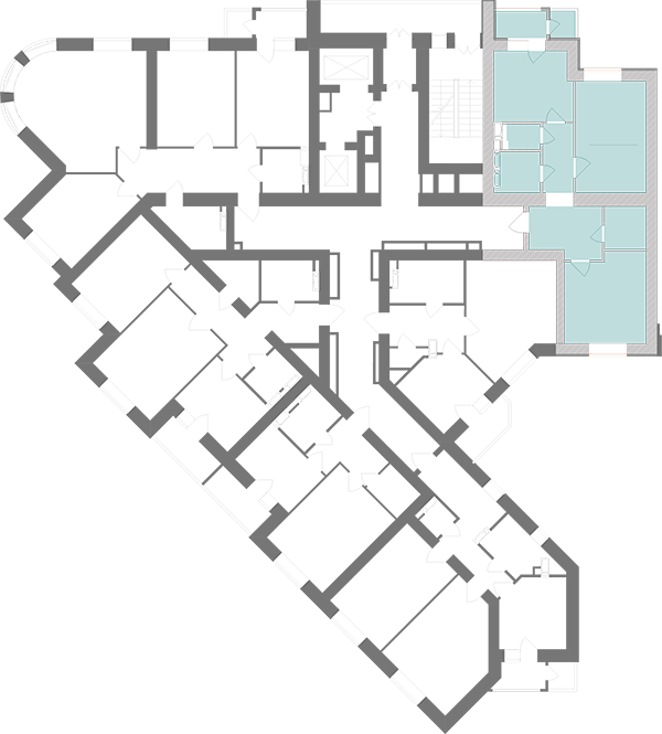 Двухкомнатная квартира 71,28 кв.м., тип 2.4, дом 1, секция 1 расположение на этаже