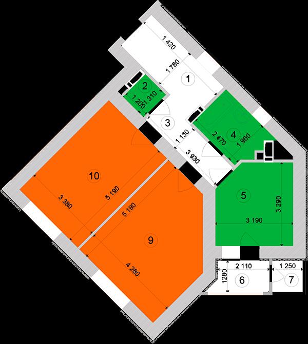 Купити Двокімнатна квартира 67,58 кв.м., тип 2.5, будинок 1, секція 1 в Києві Голосіївський район