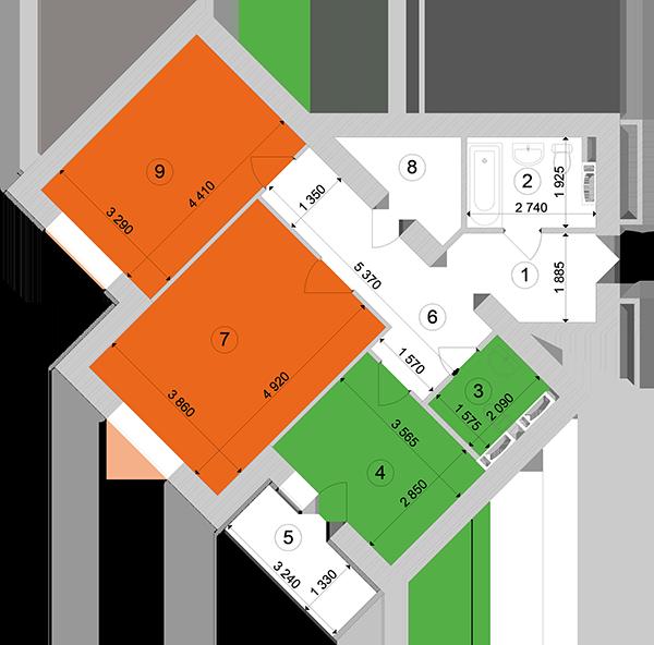 Купити Двокімнатна квартира 70,13 кв.м., тип 2.6, будинок 1, секція 1 в Києві Голосіївський район