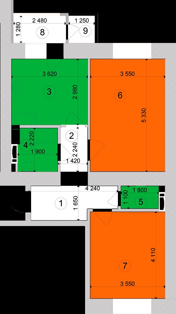 Купити Двокімнатна квартира 61,06 кв.м., тип 2.7, будинок 1, секція 2 в Києві Голосіївський район