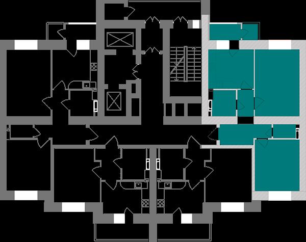 Двухкомнатная квартира 61,06 кв.м., тип 2.7, дом 1, секция 2 расположение на этаже