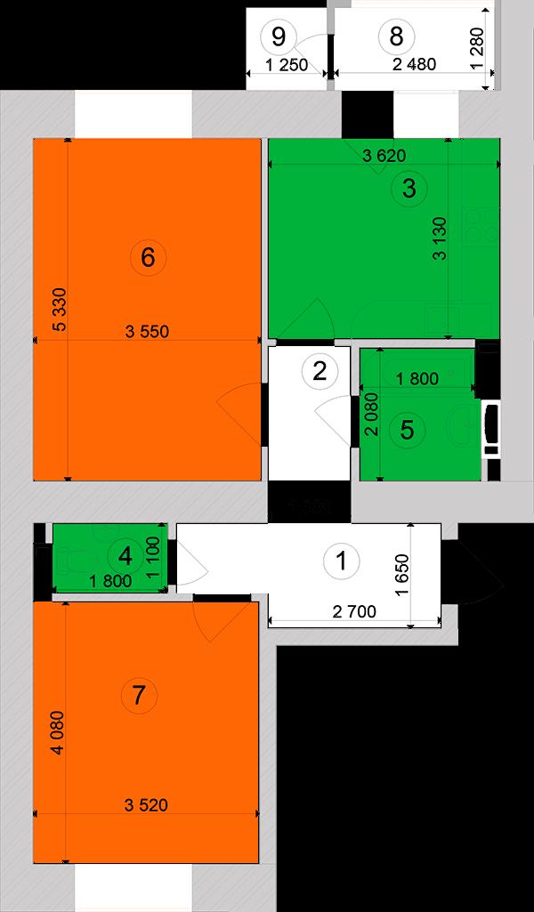 Купити Двокімнатна квартира 60,73 кв.м., тип 2.8, будинок 1, секція 2 в Києві Голосіївський район