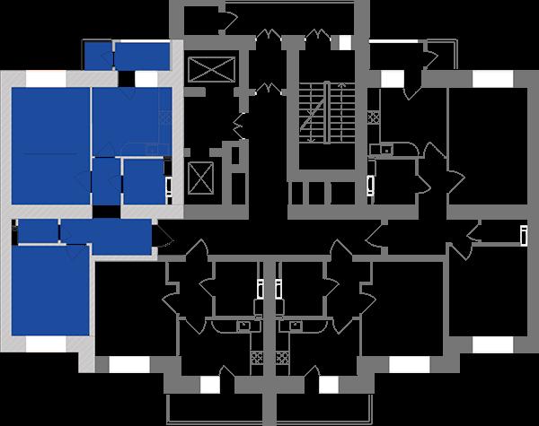 Двокімнатна квартира 60,73 кв.м., тип 2.8, будинок 1, секція 2 розташування на поверсі