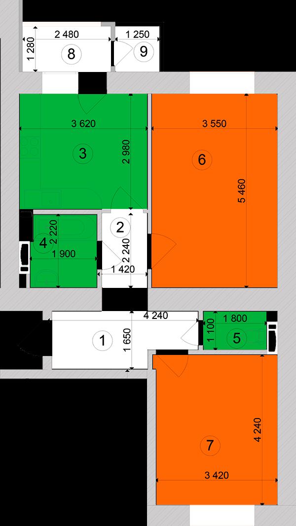 Купити Двокімнатна квартира 61,94 кв.м., тип 2.9, будинок 1, секція 2 в Києві Голосіївський район