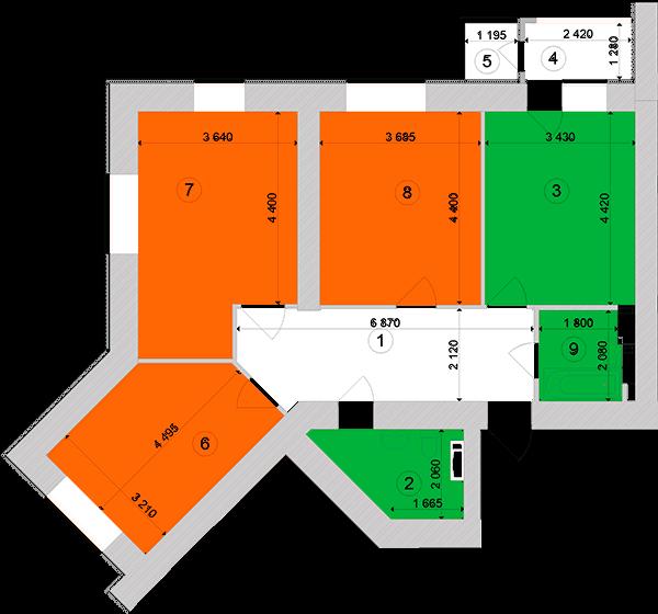 Купить Трехкомнатная квартира 87,37 кв.м., тип 3.1, дом 1, секция 1 в Киеве Голосеевский район