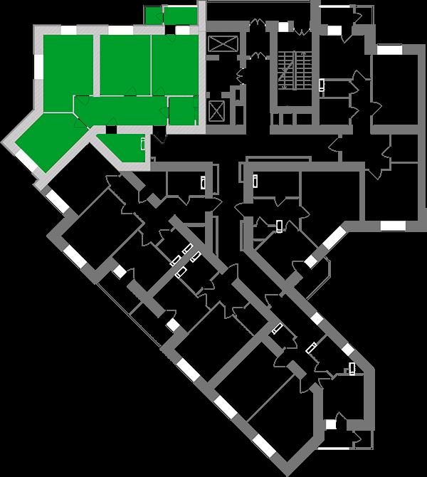 Трехкомнатная квартира 87,37 кв.м., тип 3.1, дом 1, секция 1 расположение на этаже