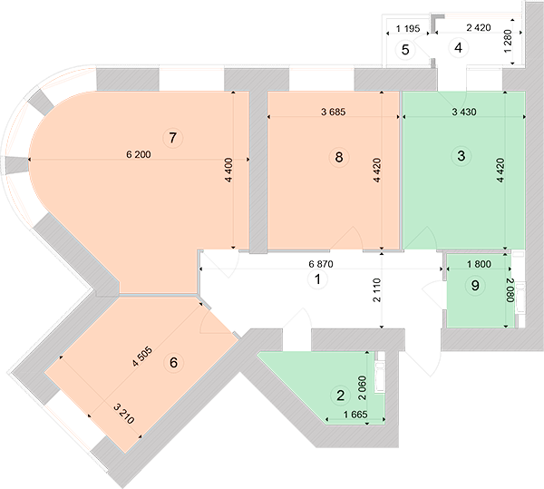 Купити Трикімнатна квартира 96,58 кв.м., тип 3.2, будинок 1, секція 1 в Києві Голосіївський район