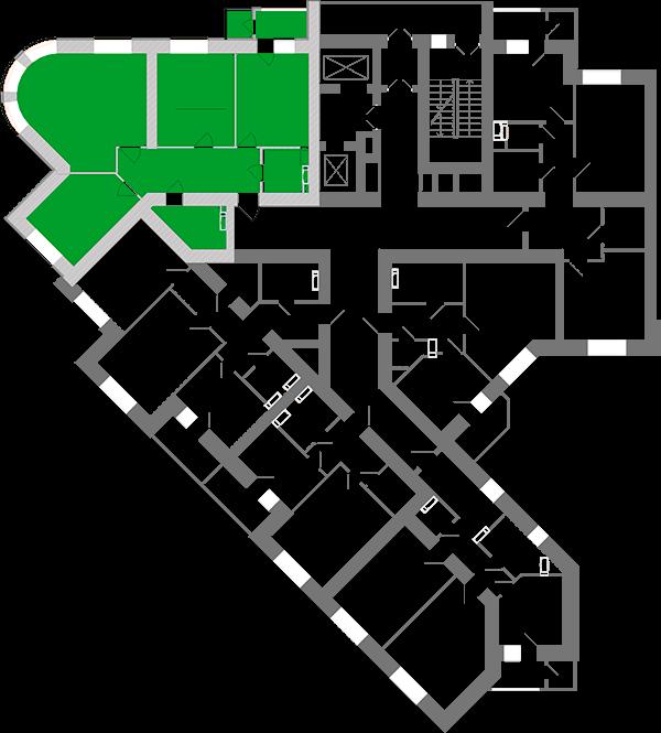 Трехкомнатная квартира 96,58 кв.м., тип 3.2, дом 1, секция 1 расположение на этаже