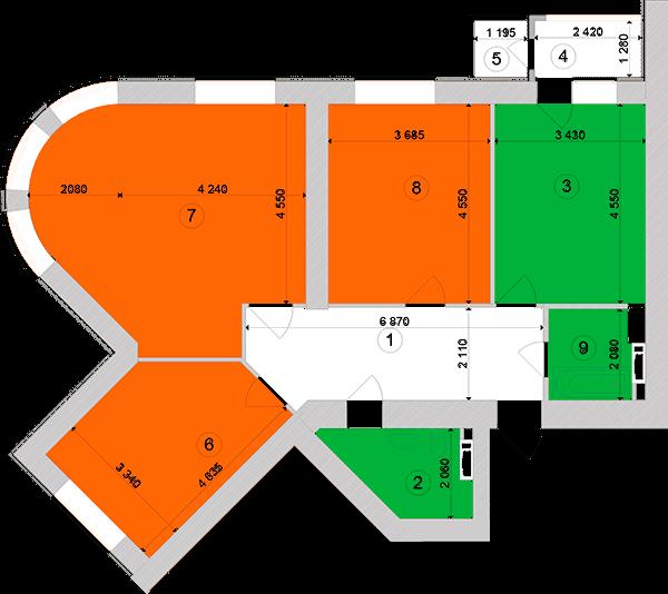 Купити Трикімнатна квартира 99,73 кв.м., тип 3.3, будинок 1, секція 1 в Києві Голосіївський район