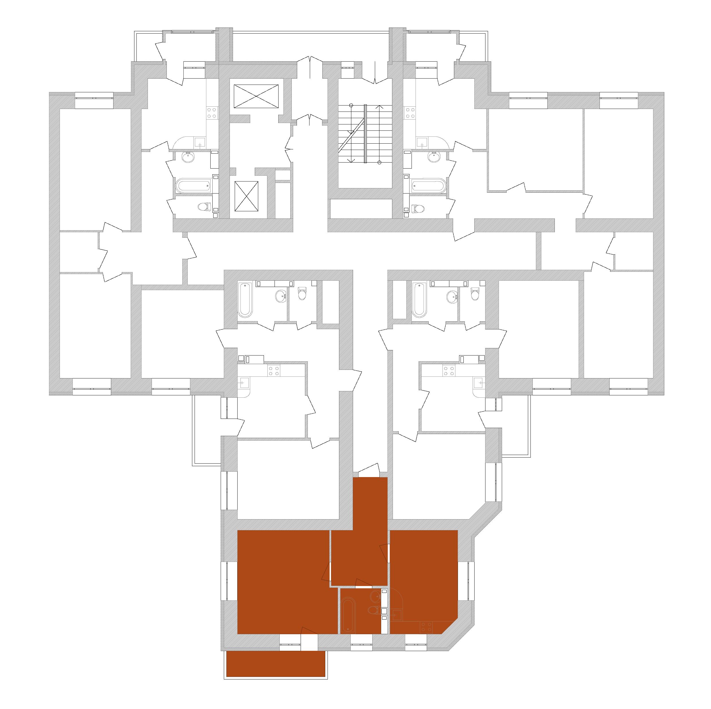 Однокімнатна квартира 53,76 кв.м., тип 1.1, будинок 1, секція 7 розташування на поверсі