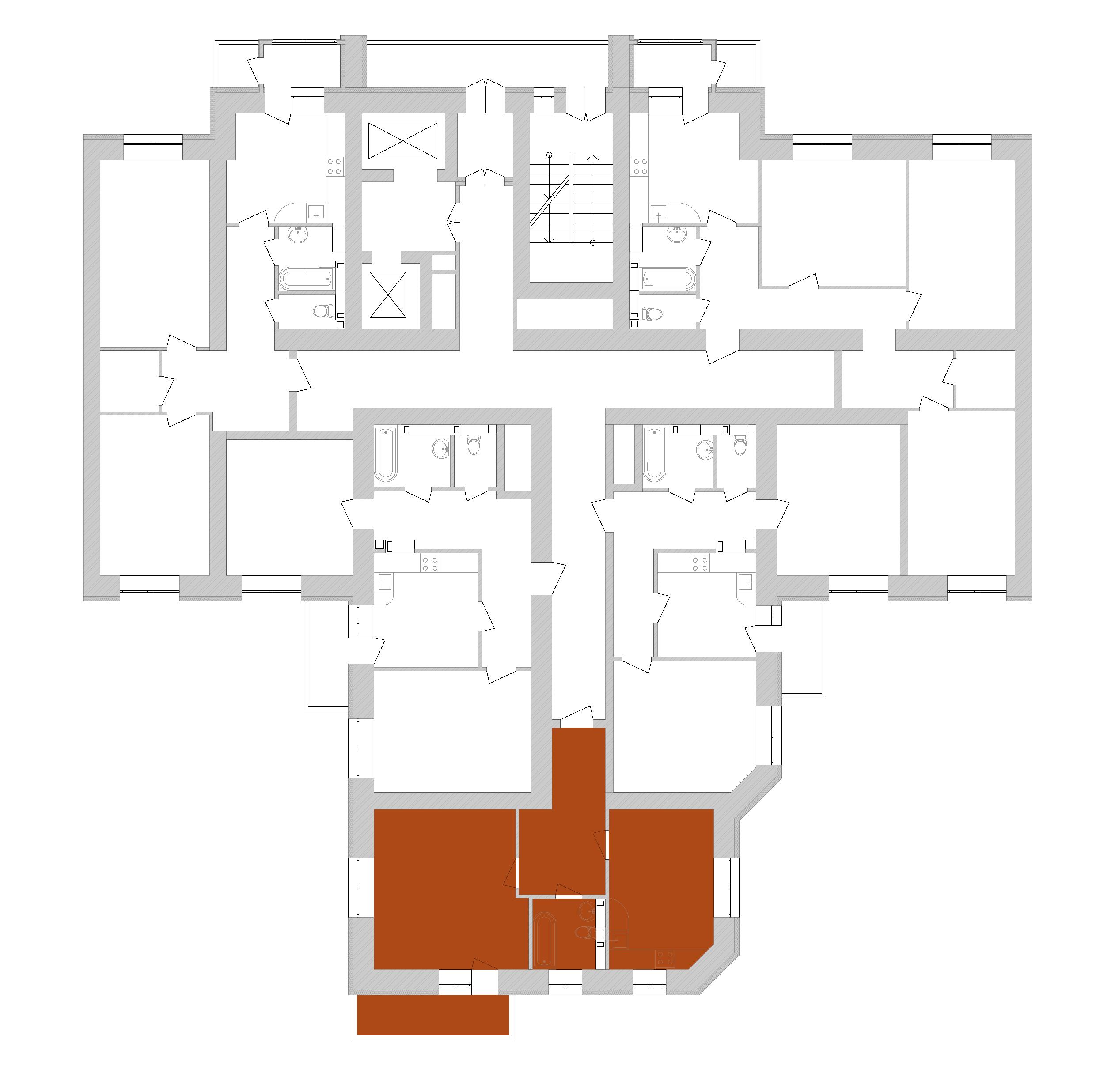 Однокімнатна квартира 56,19 кв.м., тип 1.2, будинок 1, секція 7 розташування на поверсі