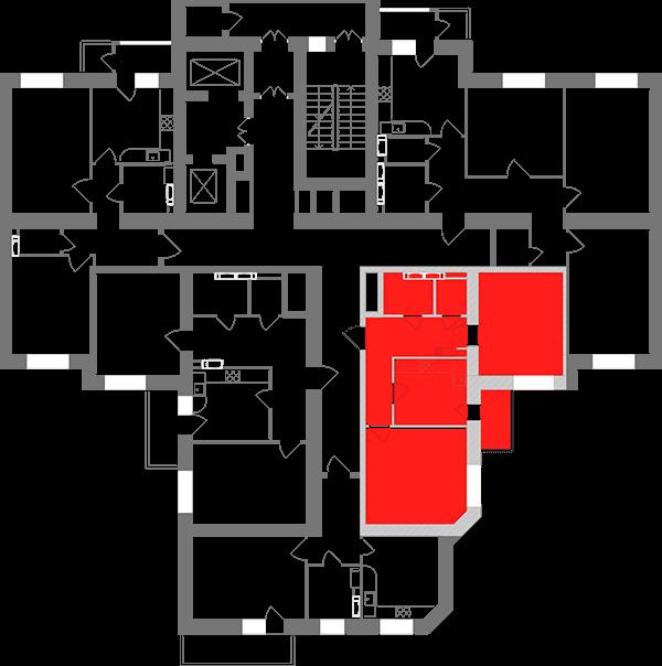 Двухкомнатная квартира 58,88 кв.м., тип 2.14, дом 1, секция 3 расположение на этаже