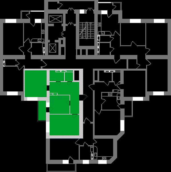 Двухкомнатная квартира 64,91 кв.м., тип 2.15, дом 1, секция 3 расположение на этаже
