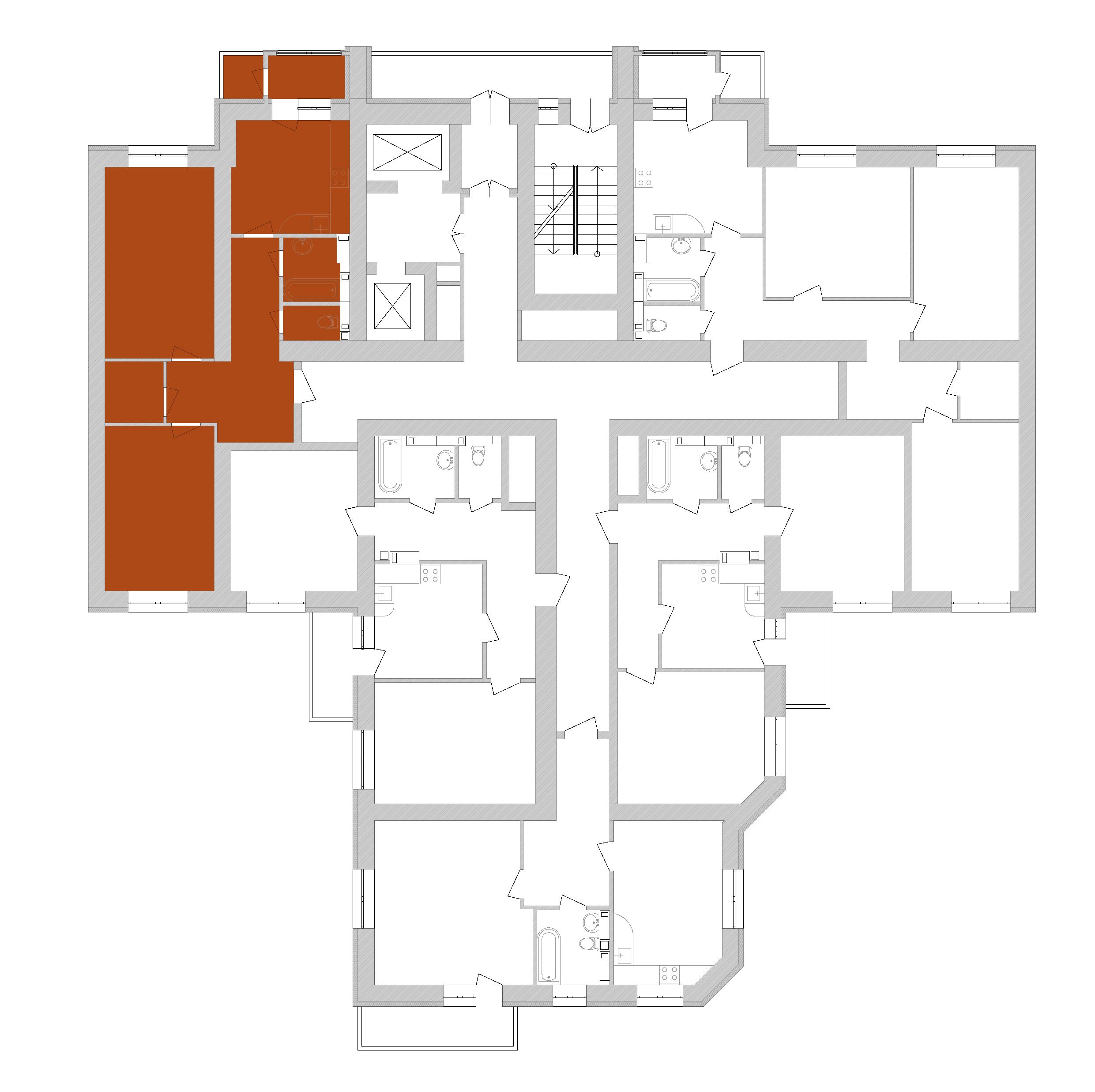 Двухкомнатная квартира 73,99 кв.м., тип 2.6, дом 1, секция 7 расположение на этаже