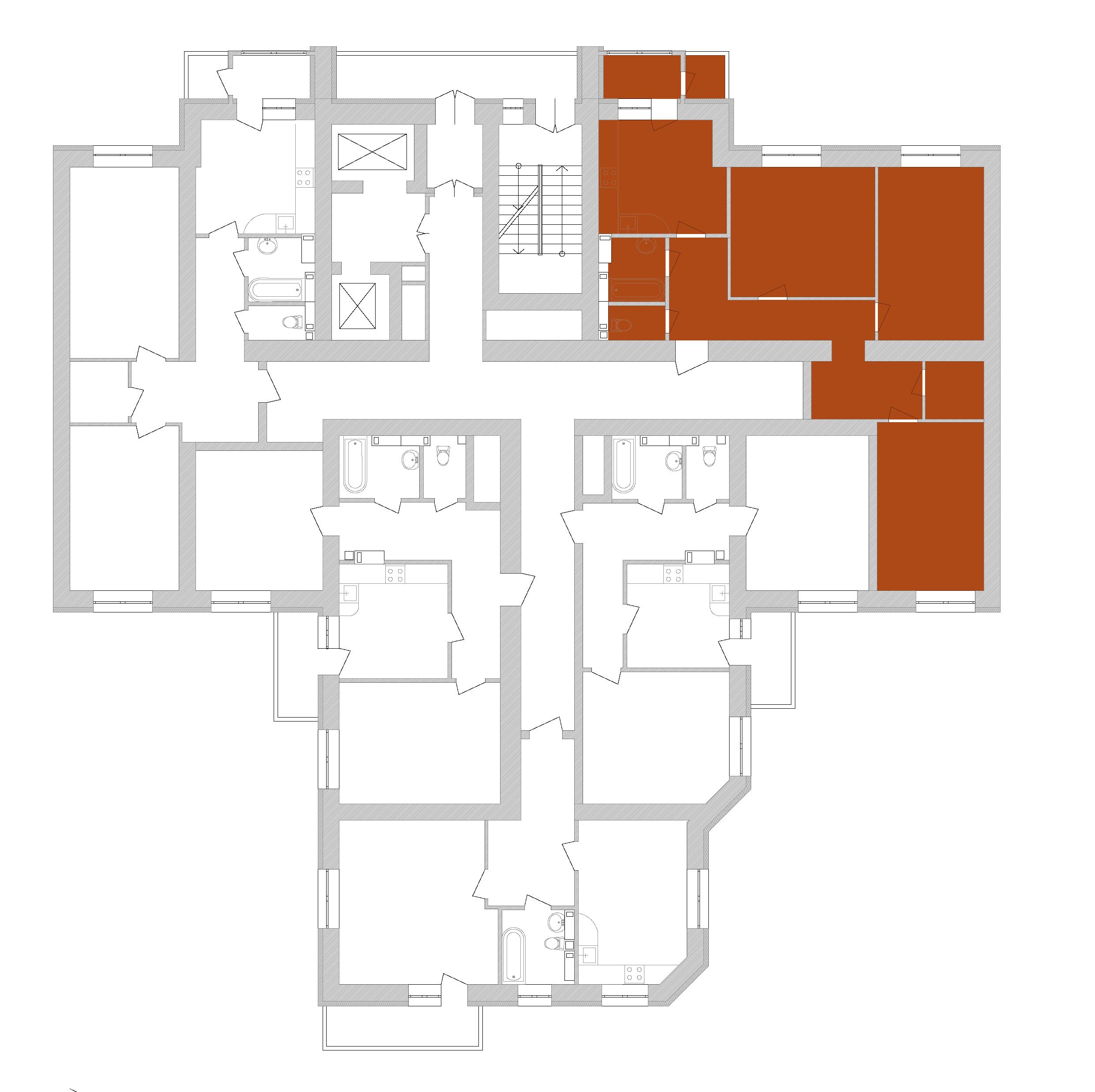 Трикімнатна квартира 92,78 кв.м., тип 3.2, будинок 1, секція 7 розташування на поверсі