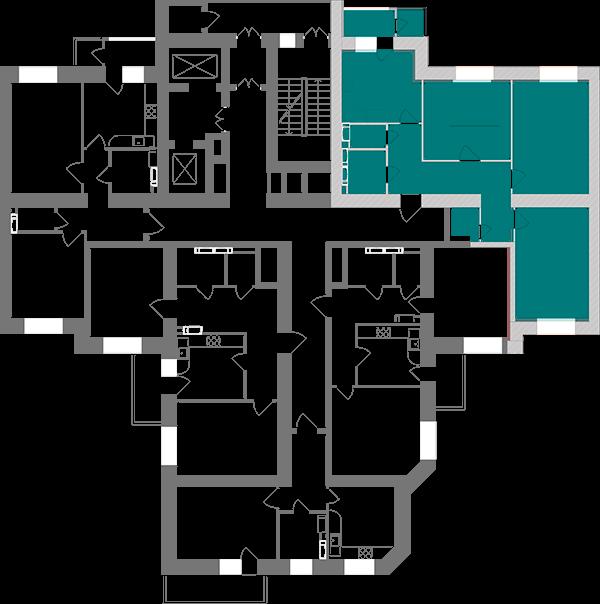 Трикімнатна квартира 91,75 кв.м., тип 3.5, будинок 1, секція 3 розташування на поверсі