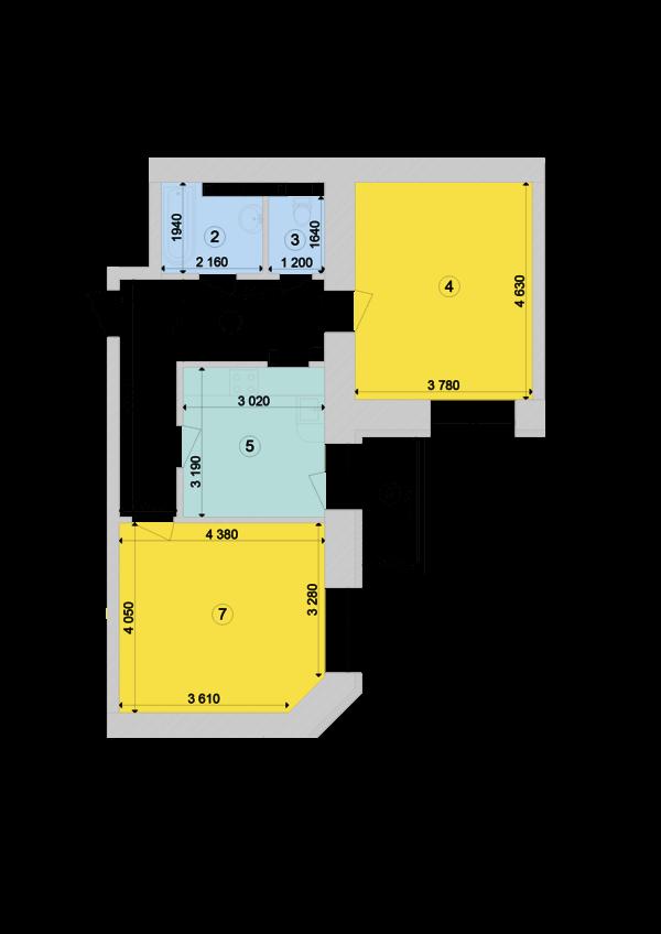 Купить Двухкомнатная квартира 61,62 кв.м., тип 2.1, дом 1, секция 7 в Киеве Голосеевский район