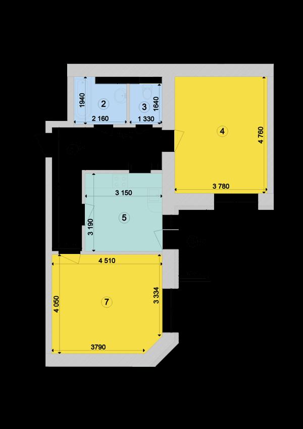 Купить Двухкомнатная квартира 63,46 кв.м., тип 2.4, дом 1, секция 7 в Киеве Голосеевский район