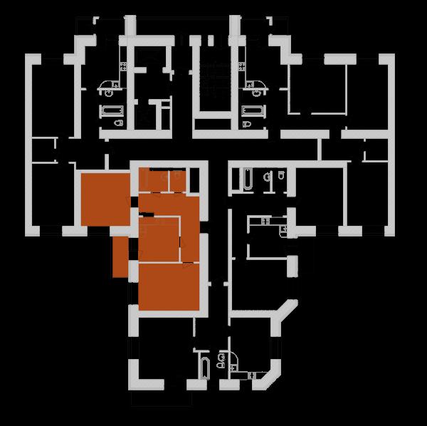 Двухкомнатная квартира 64,97 кв.м., тип 2.2, дом 1, секция 7 расположение на этаже