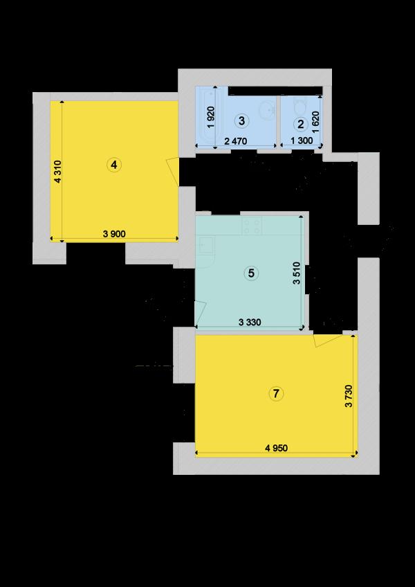 Купить Двухкомнатная квартира 66,81 кв.м., тип 2.5, дом 1, секция 7 в Киеве Голосеевский район