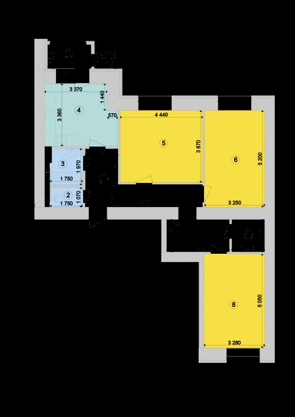 Купити Трикімнатна квартира 90,74 кв.м., тип 3.1, будинок 1, секція 7 в Києві Голосіївський район