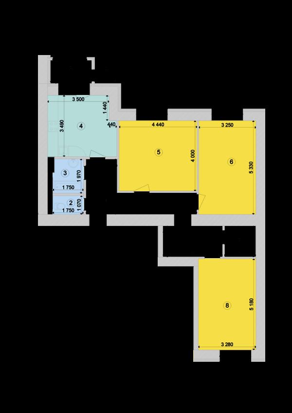 Купити Трикімнатна квартира 92,78 кв.м., тип 3.2, будинок 1, секція 7 в Києві Голосіївський район