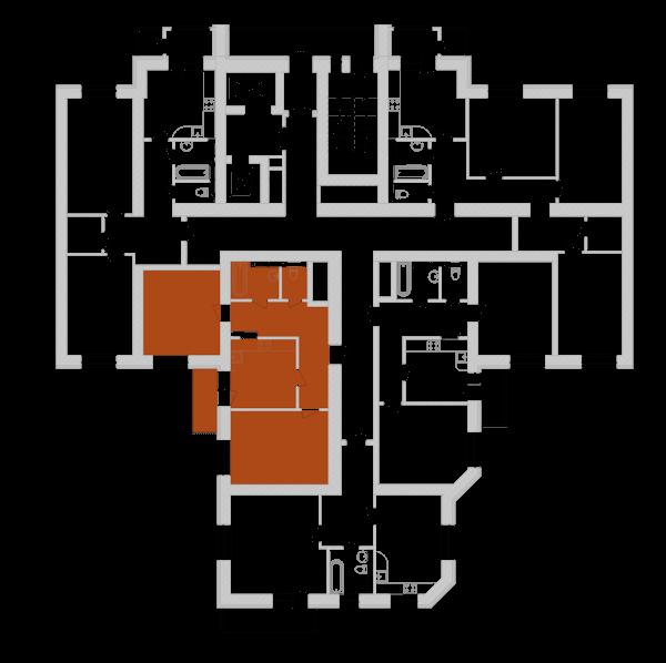 Двухкомнатная квартира 66,81 кв.м., тип 2.5, дом 1, секция 7 расположение на этаже