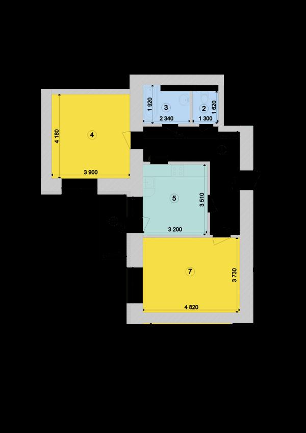Купить Двухкомнатная квартира 64,97 кв.м., тип 2.2, дом 1, секция 7 в Киеве Голосеевский район
