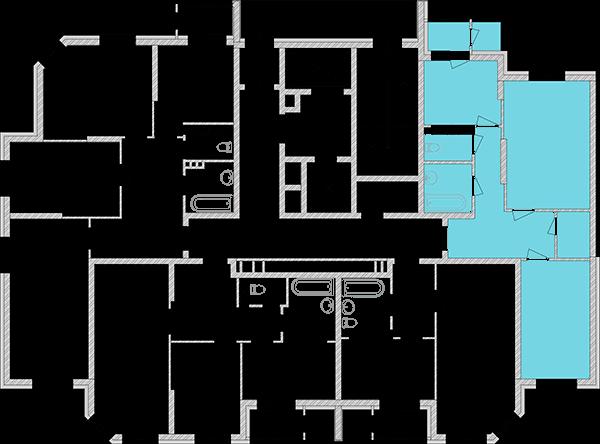 Дворівнева квартира 97,54 кв.м., тип П1, будинок 2, секція 1 розташування на поверсі